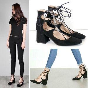 🎉Zara Black Suede Lace Up Ankle Block Heels🎉